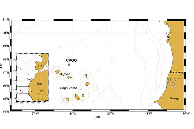 Location of the oceanic (CVOO) and atmospheric (CVAO) time series stations around the Cape Verde